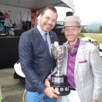 Social Concierge owners and event producers Tyson Villeneuve and Jordan Kallman with the coveted Deighton Cup.