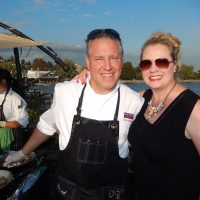Chef Dino Renaerts and wife Nessa van Bergen served up sensational seared salmon.