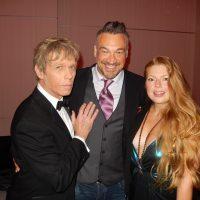 Actors Mackenzie Gray, left,  Aleks Paunovic with the lovely Alexandra Staseson.