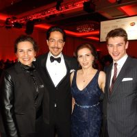 """Voice"" of the Leos Michele Gibson, left, host Zak Santiago with newlyweds Mel and Misha Daroshin."