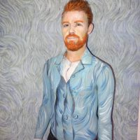 Paintertainment's Brendan Grills posing as Vincent van Gogh self portrait.