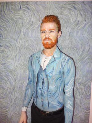 Paintertainment's Brendan Grills posing as Vincent van Gogh self portrait.