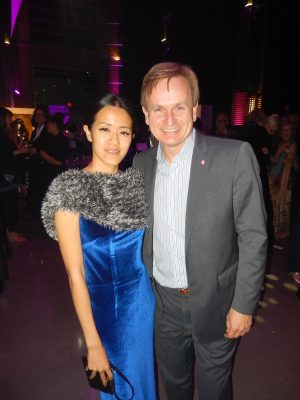 Fashion designer Grandi Chu with former NorthVancouver MP Andrew Saxton