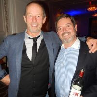 Musician Barney Bentall, left, with wine sponsor Paul Martin.