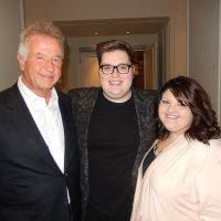 "Superagent Sam Feldman, left, with ""The Voice"" Season 9 (2015) winner Jordan Smith and his newlywed wife Kristen."