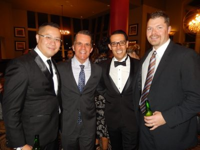 Casino GM Jimmy Ho, left, with VIPs Eric Kalnins, Johnny DeFazio and Darcy Poole